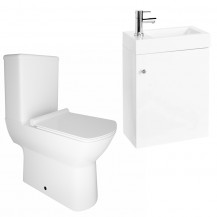 Darcey 495 Matt White Wall Hung Vanity Unit with Milan Close Coupled Toilet
