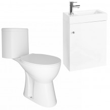 Darcey 495 Matt White Wall Hung Vanity Unit with Venice Close Coupled Toilet
