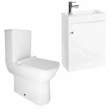 Darcey 400 Matt White Wall Hung Vanity Unit with Milan Close Coupled Toilet