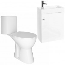 Darcey 400 Matt White Wall Hung Vanity Unit with Venice Close Coupled Toilet