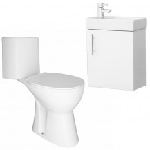 Preston Gloss White Wall Hung Vanity Unit with Venice Close Coupled Toilet