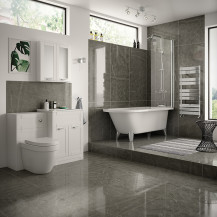 Nottingham White Freestanding Bath with Straight Hinged Bath Screen Complete Suite