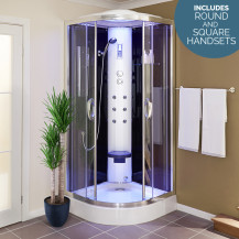 900 Quadrant Steam Shower Cabin with 6 Body Jets with Round and Square Handsets