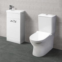 Aspen™ Compact White 410 Vanity Unit with Indiana Short Projection Toilet and Seat