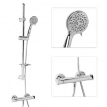 Eco Slide Shower Rail Kit with Ecobar Valve & Chrome Shower Head Handset