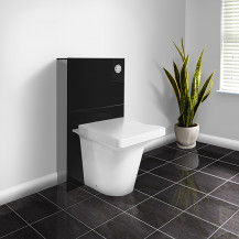 Black Deluxe WC Unit and Concealed Cistern with Iseo Back to Wall Toilet