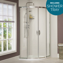 Aquafloe™ Iris 8mm 900 x 900 Sliding Door Quadrant Enclosure with Shower Tray