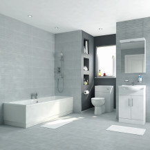 Voss 55 Vanity Unit Straight Bath Bathroom Suite