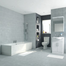Voss Dee 55 Vanity Unit Straight Bath Bathroom Suite