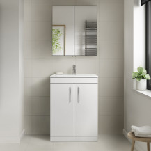Ashford White 600mm Two Door Vanity Unit