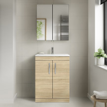 Ashford Natural Oak 600mm Two Door Vanity Unit
