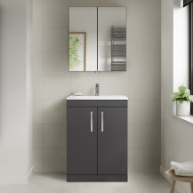 Ashford Gloss Grey 600mm Two Door Vanity Unit