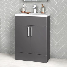 Austin 600mm Grey Gloss Freestanding Two Door Vanity Unit