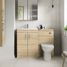 Ashford Natural Oak Combination Unit with Santorini Toilet
