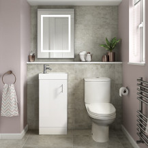 Ashford Cloakroom White 400 Vanity Unit with Albury Short Projection Toilet and Seat
