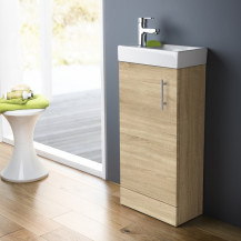 Ashford Cloakroom 400 Natural Oak Vanity Unit