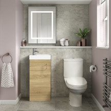 Ashford Cloakroom Oak 400 Vanity Unit with Albury Short Projection Toilet and Seat