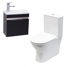 Vigo 420mm Wall Mounted Black Vanity Unit with Indiana Short Projection Toilet & Seat
