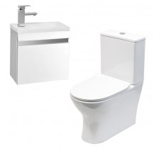 Vigo 420mm Wall Mounted White Vanity Unit with Indiana Short Projection Toilet & Seat