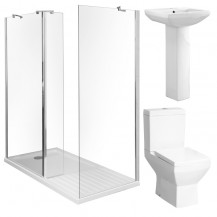 Aqualine™ 8mm 1400 x 800 Walk In Enclosure & Ultralite Shower Tray with Tabor Suite