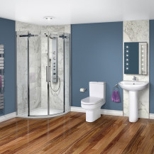 Aquafloe™ Elite ll 8mm 900 x 900 Frameless Sliding Door Quadrant Shower Enclosure & Tray with Maine Suite