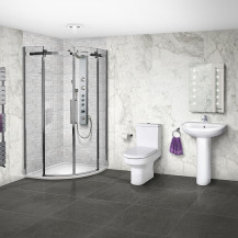 Aquafloe™ Elite ll 8mm 900 x 900 Frameless Sliding Door Quadrant Shower Enclosure & Tray with Maine Suite