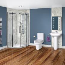 Aquafloe™ Elite ll 8mm 800 x 800 Frameless Sliding Door Quadrant Shower Enclosure & Tray with Maine Suite