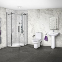 Aquafloe™ Elite ll 8mm 800 x 800 Frameless Sliding Door Quadrant Shower Enclosure & Tray with Maine Suite