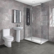 Aquafloe™ Elite ll 8mm 1200 x 800 Frameless Sliding Door Shower Enclosure & Tray with Maine Suite