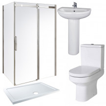 Aquafloe™ Elite ll 8mm 1200 x 800 Frameless Sliding Door Shower Enclosure & Tray with Maine Suite