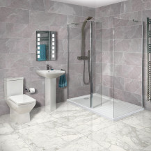 Aqualine™ 8mm 1400 x 900 Walk In Enclosure & Ultralite Shower Tray with Tabor Suite