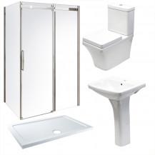 Aquafloe™ Elite ll 8mm 1000 x 800 Frameless Sliding Door Shower Enclosure & Tray with Montana Suite