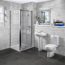 Aquafloe™ 6mm 900 Bi Fold Shower Door & Tray with Albury Suite