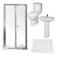 Aquafloe™ 6mm 900 Bi Fold Shower Door & Tray with Albury Suite