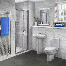 Aquafloe™ 6mm 800 Bi Fold Shower Door & Tray with Albury Suite