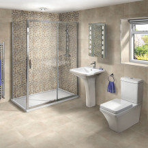Aquafloe™ Iris 8mm 1200 x 800 Sliding Door Shower Enclosure & Tray with Montana Suite