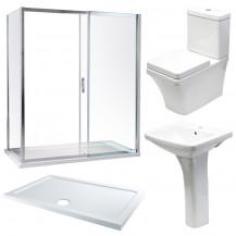 Aquafloe™ Iris 8mm 1200 x 800 Sliding Door Shower Enclosure & Tray with Aurora Suite