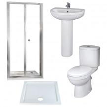 Aquafloe™ 6mm 760 Bi Fold Shower Door & Tray with Albury Suite