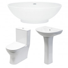 1680 x 800mm Oval Double Ended Freestanding Bath with Indiana Suite