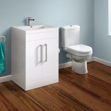 TD White 600 Vanity Unit with Albury Short Projection Close Coupled Toilet