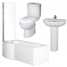 P Shaped 1675 Left Hand Shower Bath, Front Panel, Screen & Albury Suite