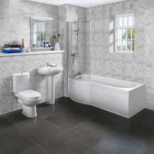 P Shaped 1675 Left Hand Shower Bath, Front Panel, Screen & Albury Suite