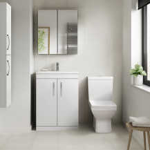 Ashford White 600mm Two Door Vanity Unit with Tabor Close Coupled Toilet