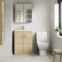 Ashford Natural Oak 600mm Two Door Vanity Unit with Tabor Close Coupled Toilet