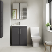 Ashford Grey Gloss 600mm Two Door Vanity Unit with Tabor Close Coupled Toilet