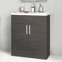 Austin 800mm Grey Avola Freestanding Two Door Vanity Unit