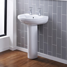 Albury 555mm Two Tap Hole Basin and Pedestal