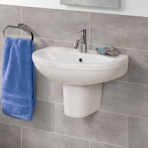 Albury 555mm One Tap Hole Basin and Semi Pedestal