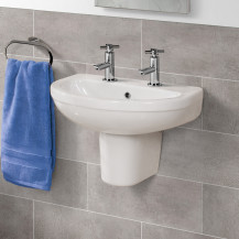 Albury 555mm Two Tap Hole Basin and Semi Pedestal
