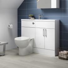 Atlanta White Gloss Cloakroom Combination Unit with Sofia back to wall toilet